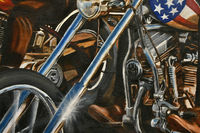 Oil painting Chrome close up