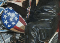 Oil painting closeup leather
